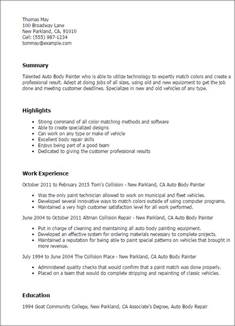 Automotive Body Repairer Free Sample Resume